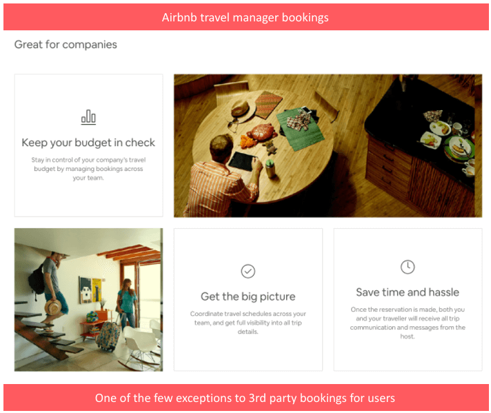 Most firms in the tourism industry try to maximise sales by using all available channels. Airbnb des the opposite and tries to minimise intermediaries and build direct relationships with their customers. Corporate travel is the only (partial) exception to this.